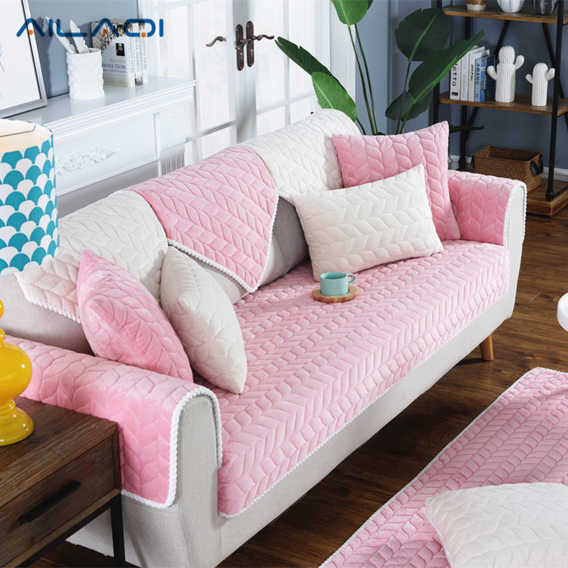 AILAQI 1 Piece Fleeced Fabric Sofa Cover European Style Soft Slip ...