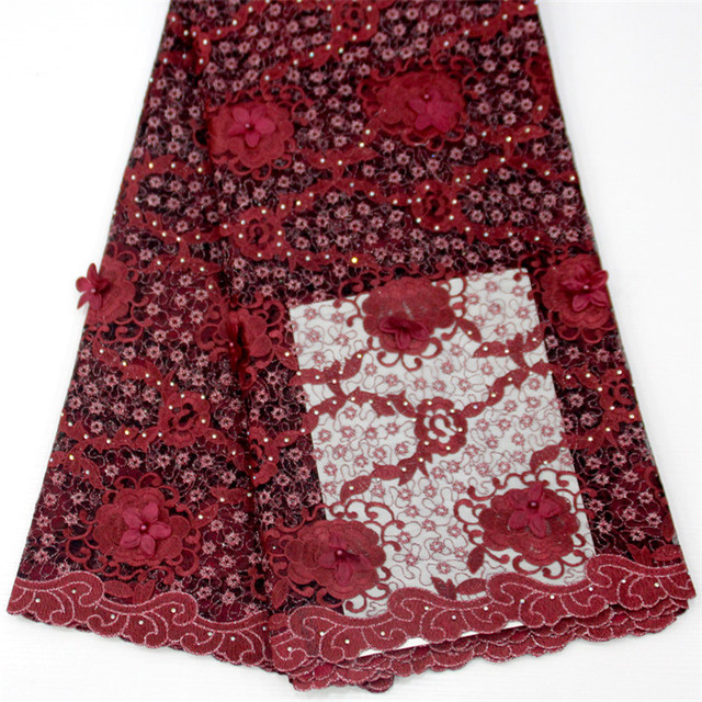 HFX 3d Flower African Wine Fabric High Quality Nigerian French Lace Embroidered Tulle Lace Fabric with Stones&Beads  X1287-1