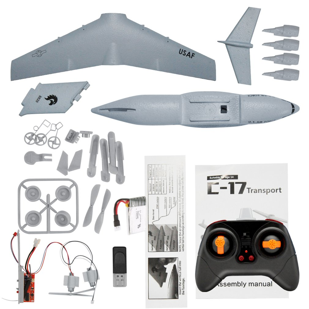 C17 RC Drone DIY Aircraft Transport Plane 373mm Wingspan EPP RC Drone Airplane 2.4GHz 2CH 3-Axis Aircraft for Children best Toy image