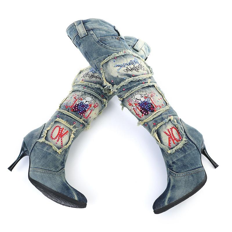 Haute De Rhinestone Le Chevalier Gladiateur Sxq0602 Sur beading Perles Bottes Automne Chaud Mince Strass Denim Combat Talons Genou Fix Hiver Femmes Jean Hot 5Rj4AL