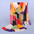 SW402 women's scarf color block scarf print long shawl cape silk chiffon tippet muffler 2014 new design pashmina Plaid Scarves