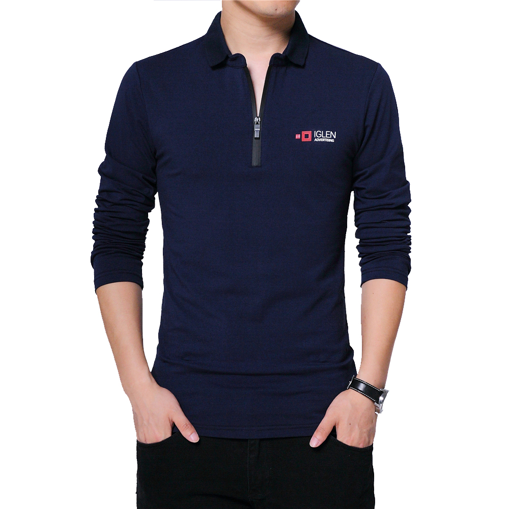 BROWON Autumn Brand T Shirt Men Long Sleeve Zipper Collar Print Casual Tshirt Cotton Slim Fit T-shirt Plus Size Men Clothing