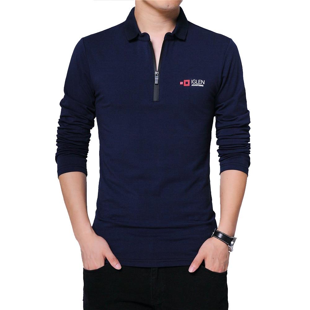 BROWON Autumn Brand T Shirt Men Long Sleeve Zipper Collar Print Casual Tshirt Cotton Slim Fit T-shirt Plus Size Men Clothing