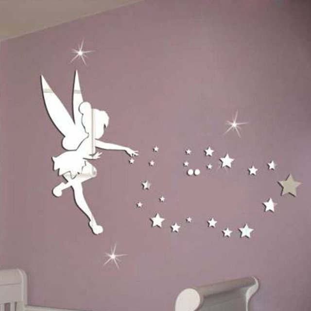 Cartoon Fairy Stars Romantic 3d Mirror Wall Stickers for Kids Rooms Decoration Chambre Fille Muurstickers Voor Kinderen Kamers