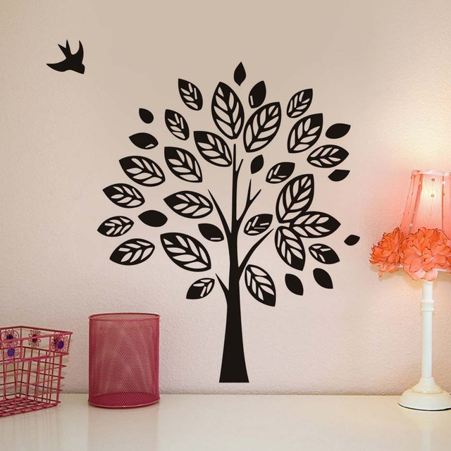 Freehand Sketching Tree And Bird Wall Stickers For Kids Room Wall Decor  Removable Vinyl Wall Decals