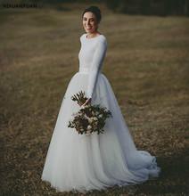 Proste kraju suknie ślubne z długim rękawem tanie miękki tiul suknia ślubna suknie ślubne wykonane na zamówienie suknie ślubne tanie tanio Pełna Tulle Scoop Sweep brush pociąg Długość podłogi zipper -Line Zakładka REGULAR Naturalne 517-1506 China JiangSu