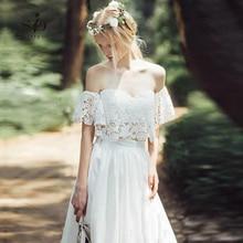 Off the Shoulder Wedding Dress 2-pieces Lace Modest Informal Bridal Gown Crop Top Chiffon Skirt contrast lace open the shoulder top