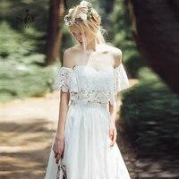 Off the Shoulder Wedding Dress 2 pieces Lace Modest Informal Bridal Gown Crop Top Chiffon Skirt