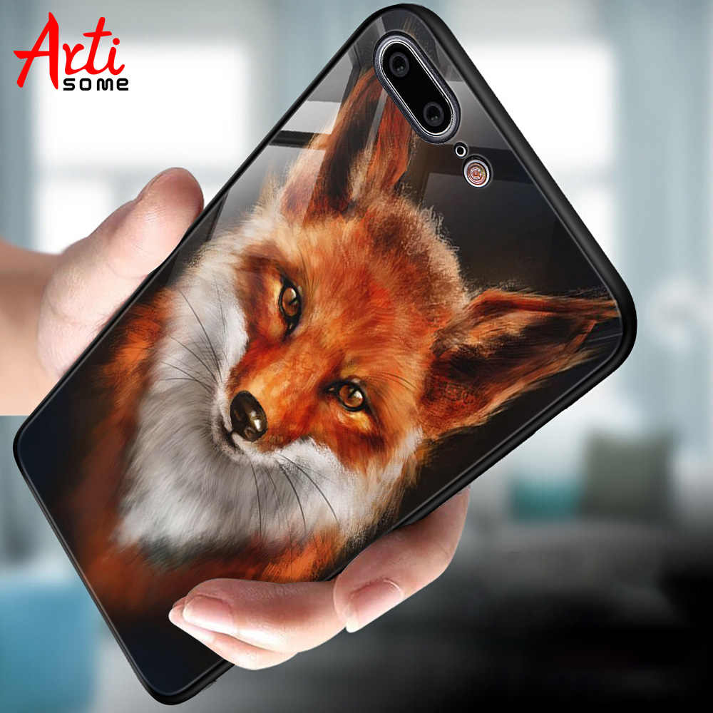 Tempered Glass Case For iPhone 7 6 8 6S Plus Case For iPhone X XS MAX Animal Pattern Soft Edge Back Cover Cases Protective Shell