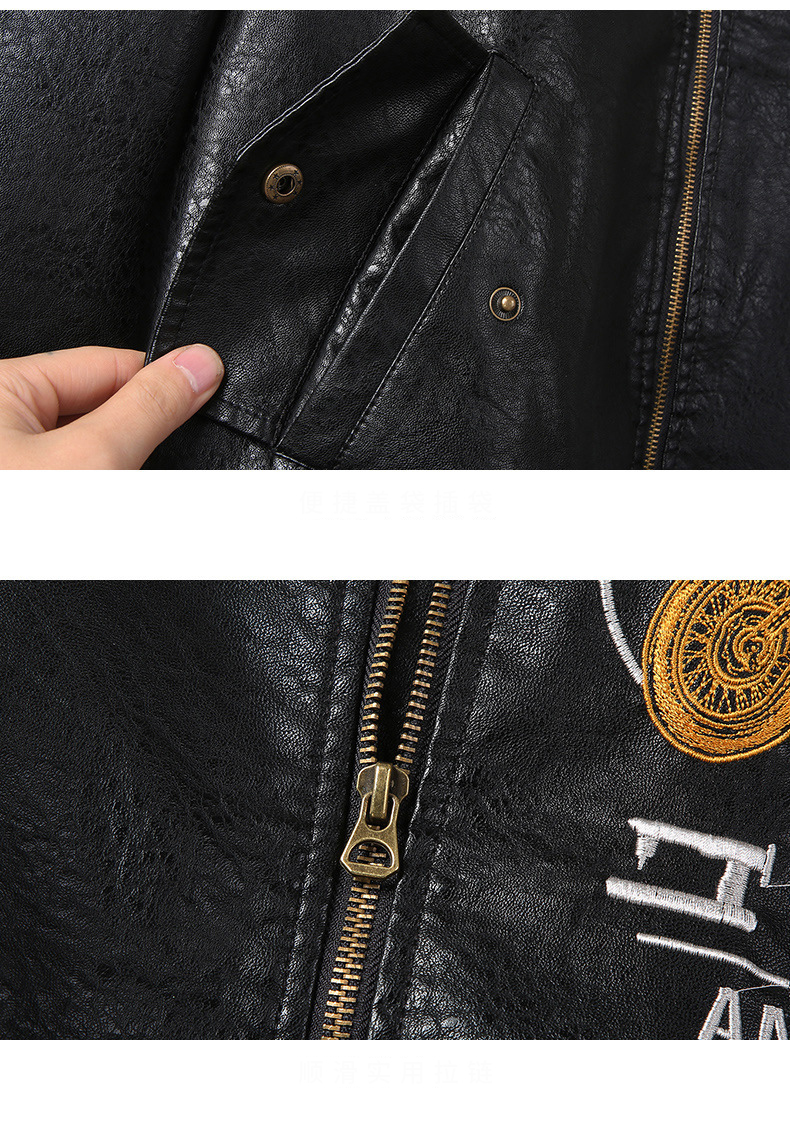 HTB1A4SLdf1G3KVjSZFkq6yK4XXaL Men's Leather Jackets and Coats Male Motorcycle Leather Jacket Casual Slim Brand Clothing V-Neck Collar Coats