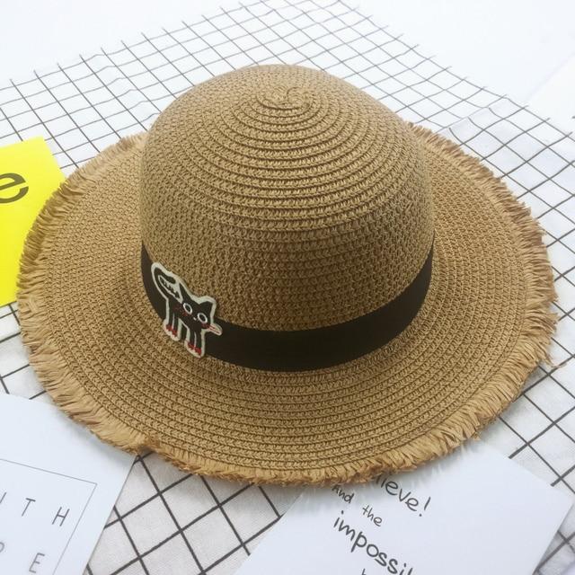 2017 New Lovely Cat Hat Baby Boys Girls Wide Brim Hat Floppy Derby Hat  Large Summer Beach Sun Straw Hat Cap for Child 35f5ab408cb