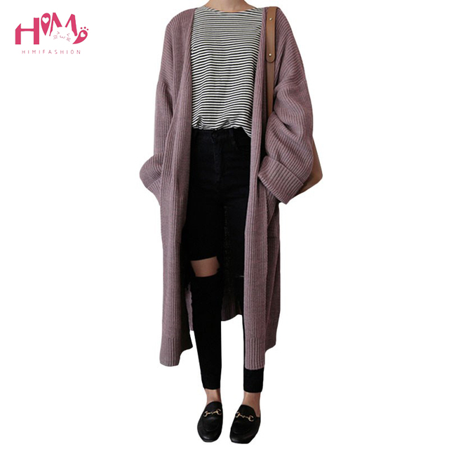 42e3c841d876ca Women Long Sleeve Loose Oversize Knit Cardigan Autumn Winter Fashion Big Pocket  Long Sweaters Coat Casual Open Stitch Sweaters