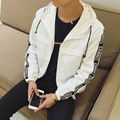 Plus Size Mens Jackets Brand New 2016 Hooded Casual Men Jacket Letter Print Big Size Slim Long Sleeve Outwear Coat Mens Clothing