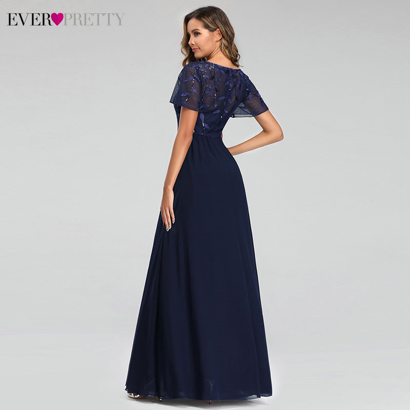 Image 2 - Evening Dresses Long Ever Pretty EZ07706 Elegant Navy Blue A line Short Sleeve Chiffon Lace Embroidery Party Gowns for Wedding-in Evening Dresses from Weddings & Events