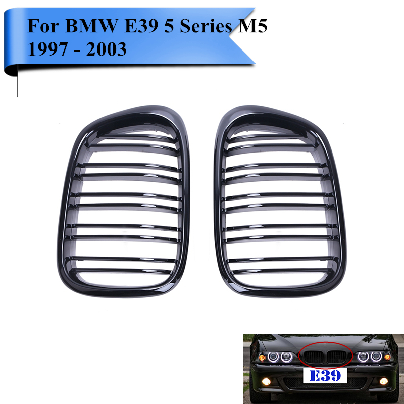 2x Gloss Black Double Line Twin Slat Front Grill Kidney Grille Lattice For BMW E39 5 Series 525i 535i M5 1997 - 2003 # CASE e60 abs front kidney grille grill for bmw 5 series e60 2004 2009 sedan e61 hatchback 1 slat 2 slat 535i 545i