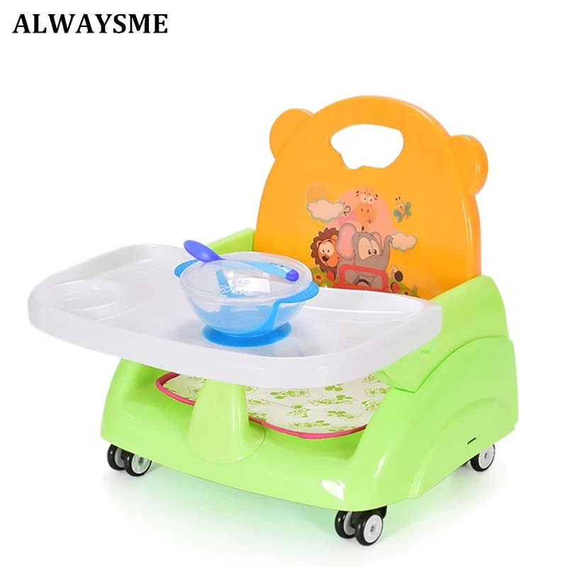 ALWAYSME Foldable Portable Adjustable Baby Kids Booster Seats Highchair High Chairs Dinner Chairs Feeding Chairs For 6M-36M Baby