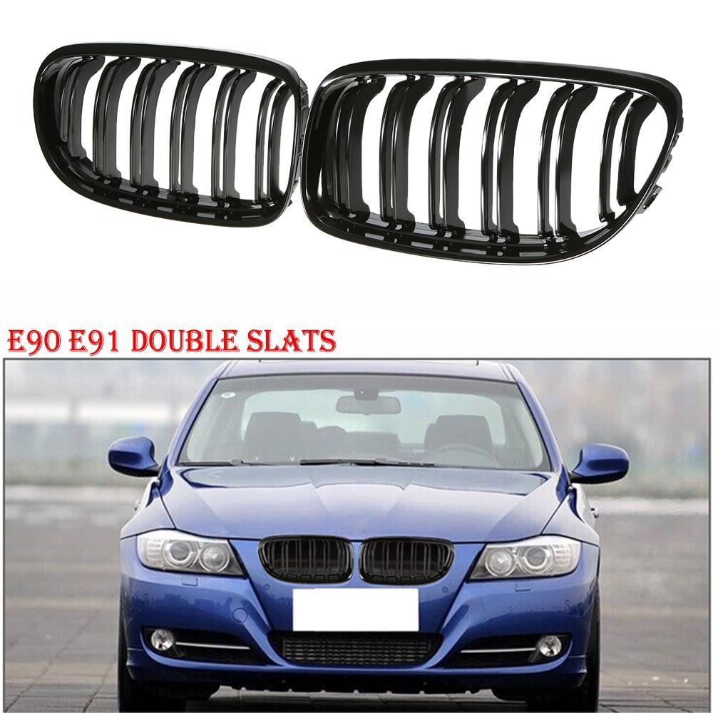 Brillant Noir Avant Double Latte Ailettes Grille Pour BMW E90 E91 LCI 3 Série 2009-2011 4D