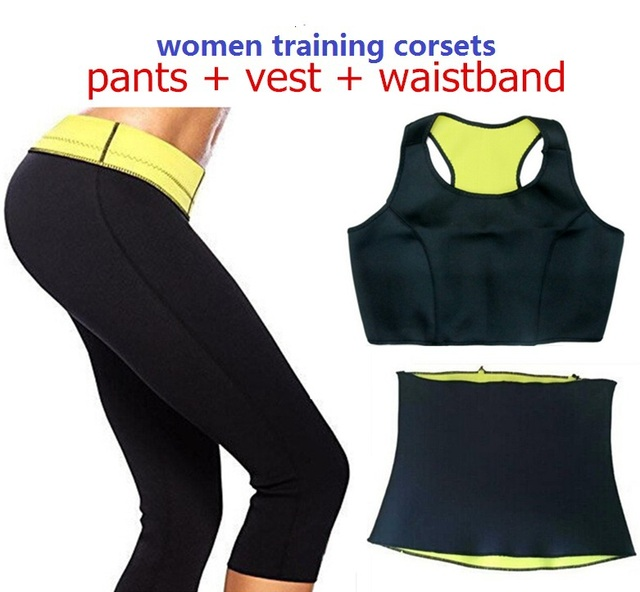 ( Pants + vest + waistband ) HOT Selling Super stretch neoprene Shapers pants set Women's Slimming Sets corsets