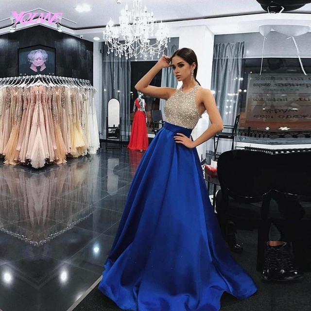 YQLNNE 2018 Royal Blue Rhinestones Prom Dresses Long Halter Satin Beaded Evening Gown