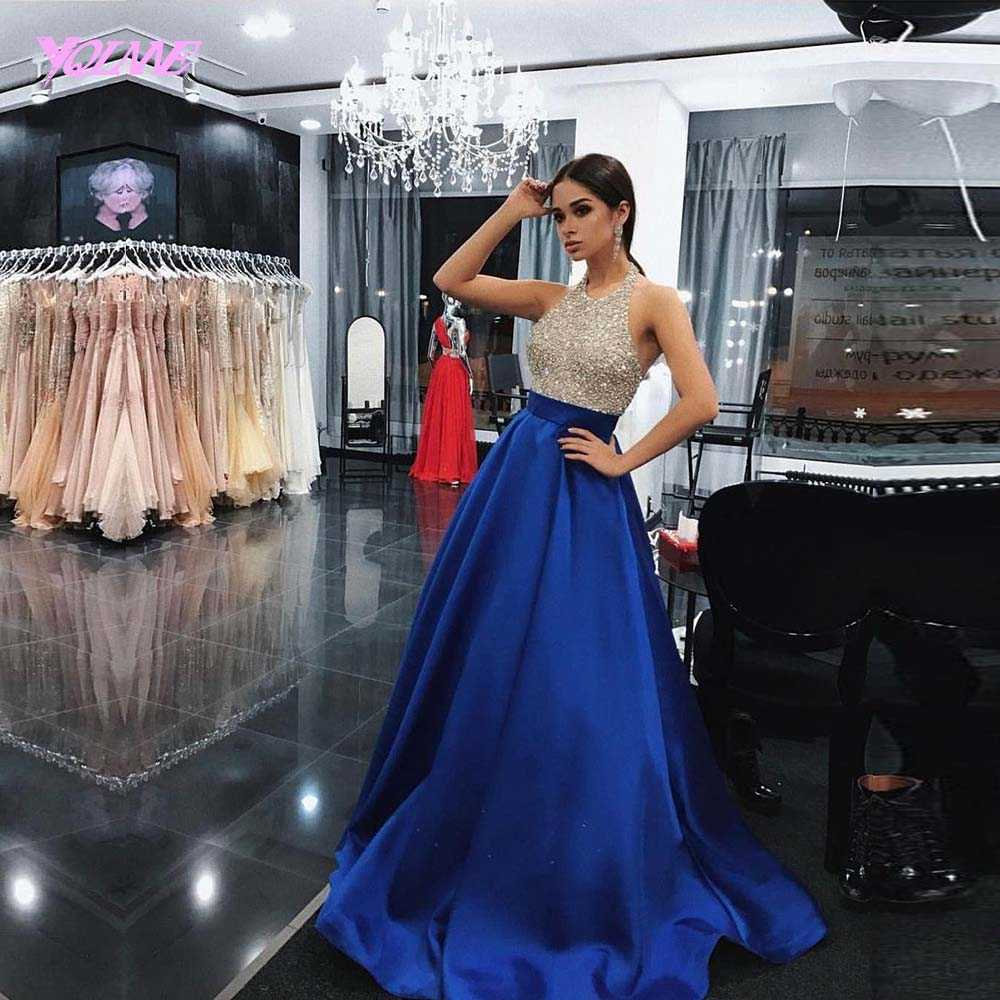 YQLNNE 2018 Royal Blue Strass Prom Dresses Lungo Halter Satin Beaded Abito Da Sera
