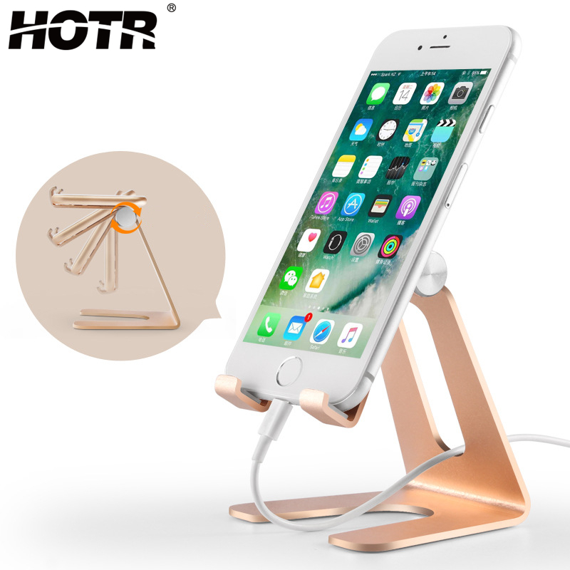 HOTR Rotatable Aluminium Alloy Mobile Phone Holder Metal Tablet Holder Stand Mount Support Universal Table Holder Accessories