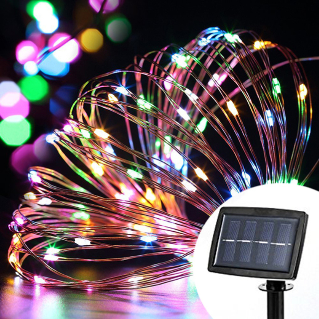 10M 100LED Solar Powered LED Copper String Lights for Gardens, Homes, Dancing, Christmas Party,Outdoor Fairy light for Holiday