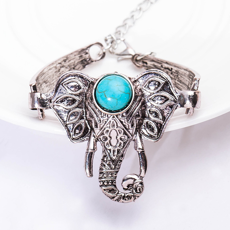 Crack Figure Blue Stone on Head Vintage Boho Elephant Retro Silver Bracelets & Bangles f ...
