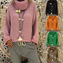 дешево!  Свитер женский 2019 осень новый сплошной цвет водолазка свитер с длинным рукавом свободные головы  Луч