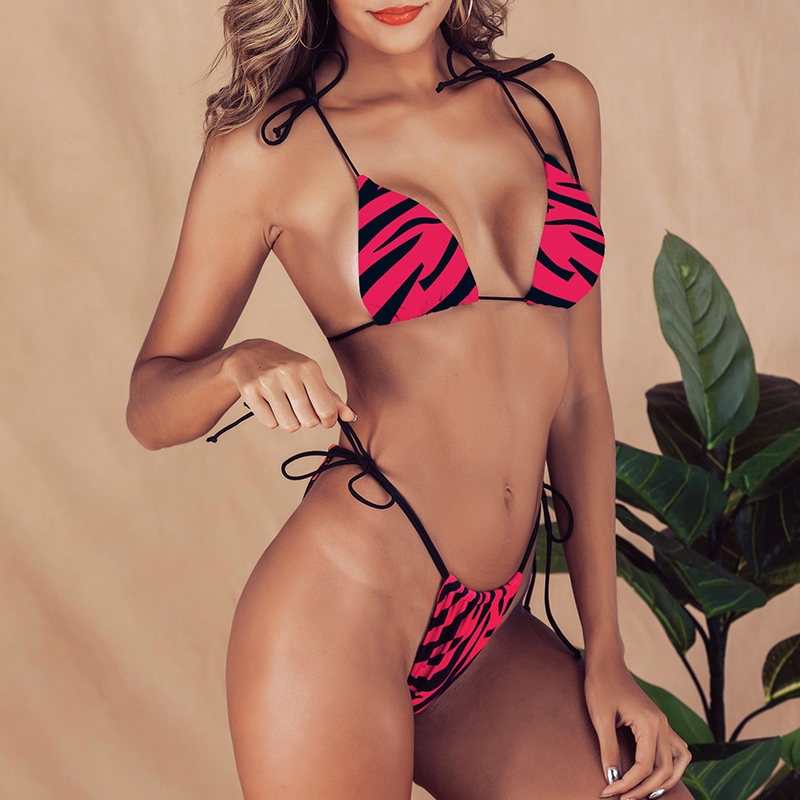 HTB1A4TNeliE3KVjSZFMq6zQhVXaj Brazilian bikini thong Micro print bikini Neon swimwear women 2019 bathers Push up 3 piece swimsuit female string bathing suit