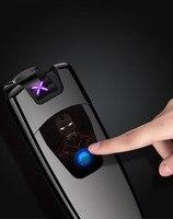 Sensível Ao toque USB Homem de Ferro Arco Duplo Carregamento Usb Plasma Pulso Eletrônico Cigarros Isqueiros À Prova de Vento Mais Leve Eletrônico