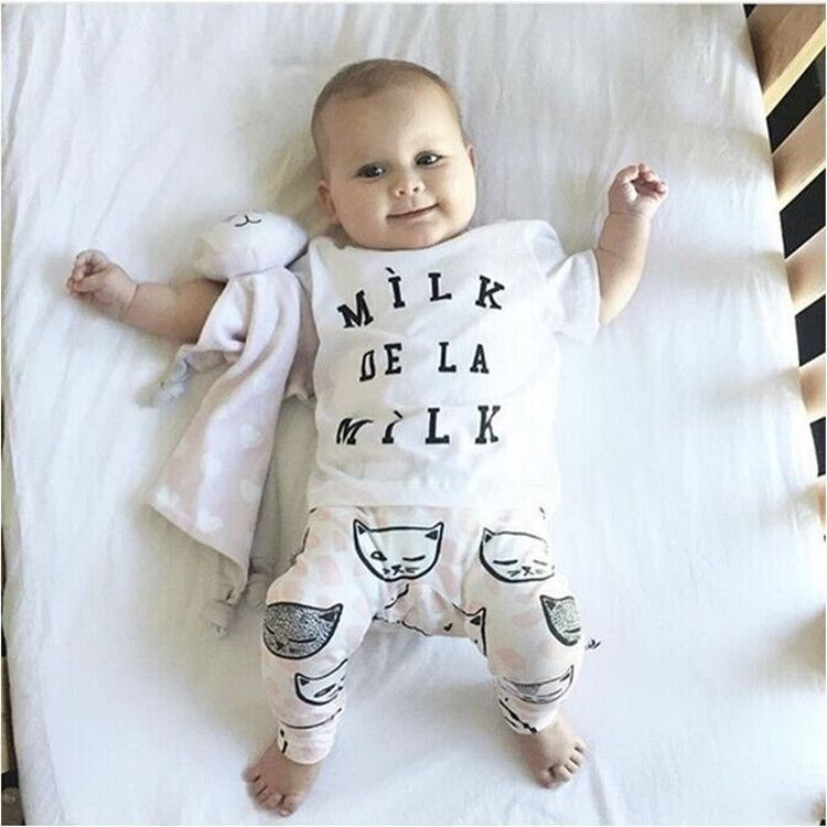 WENDYWU 2016 The new INS HOT baby clothing models cotton T-shirt + cat pants two sets of boys clothing set