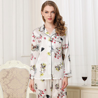 CEARPION/женский Пижамный костюм с цветочным принтом и длинными рукавами; сезон осень весна; новая шелковая пижама из 2 предметов + брюки; повсед