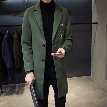 Fashion Slim Mens Long Coats 2018 Winter Casual Turn Down Collar Wool Blend Coat and Jacket Solid Single Breasted Male Coats