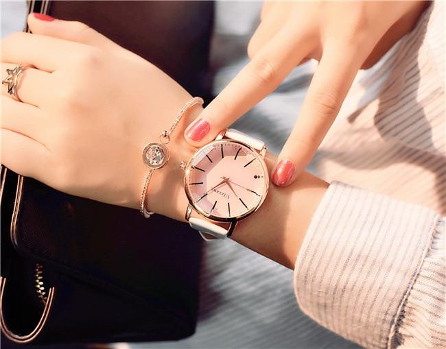 Polygonal dial design women watches luxury fashion dress quartz watch ulzzang popular brand white ladies leather wristwatch 7