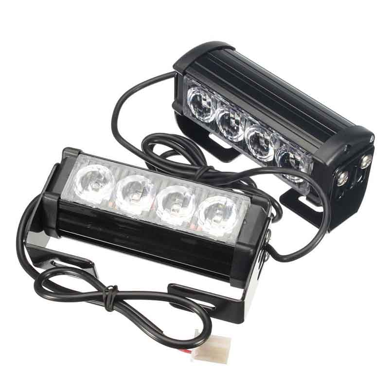 2pcs 12V Car 4 LED Emergency Warning Hazard Flash Strobe Grill Light Bar Auto Truck White Flashing Lamp Aluminium Housing