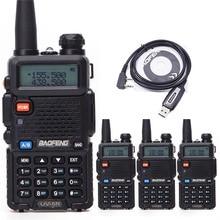 4 шт. Baofeng UV-5R профессиональная рация UV5R 5 Вт FM радио двухдиапазонный двухсторонний портативный любительский радио+ USB кабель для программирования