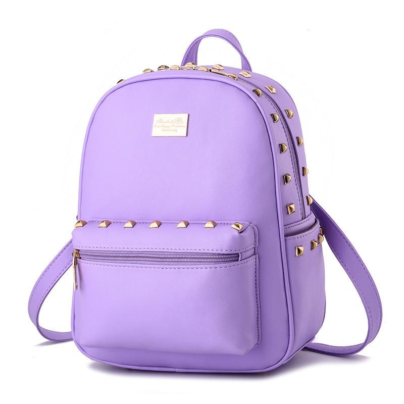Purple High Quality PU Girls' Schoolbag Women Backpacks Casual Traveling Bag Rivets Adjustable Straps pu adjustable strap hat shaped girls mini bag
