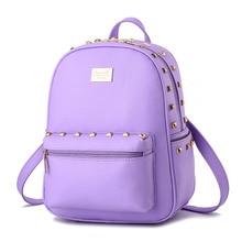 Purple High Quality PU Girls Schoolbag Women Backpacks Casual Traveling Bag Rivets Adjustable Straps