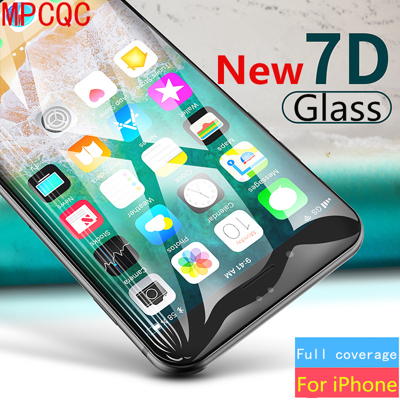 MPCQC 7D HD Protective Glass for iPhone 8 Screen Protector iPhone Xs Max XR Tempered Glass on iPhone X 6 6s 7 8 Plus Xs 9H Glass