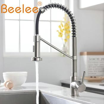 Beelee Pull Down Kitchen Faucet Single Holder Single Hole Water Outlet Nickel Cast Pull Swivel Mixer Tap BL7731N