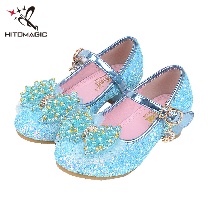 HITOMAGIC Girls Shoes Leather Princess Shoes Summer 2018 Toddler Spring New Children Kids Heel Girls Wedding Party Rhinestone