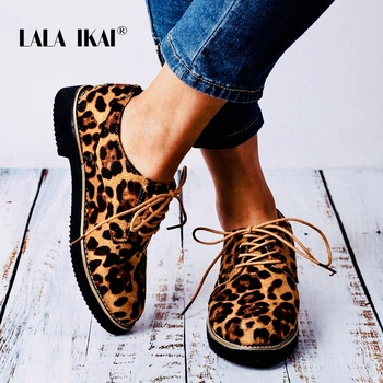 LALA IKAI Spring Flock Shoes Woman Autumn Flats Lace-up Cross-tied Round Toe Ladies Casual Shoes 2018 014A3213-49