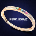 Brand Strand Bracelet Pulseras Bracciale  Gold Filled For Women With Swarovski Elements Crystal Bangles Bijoux Fine Jewelry