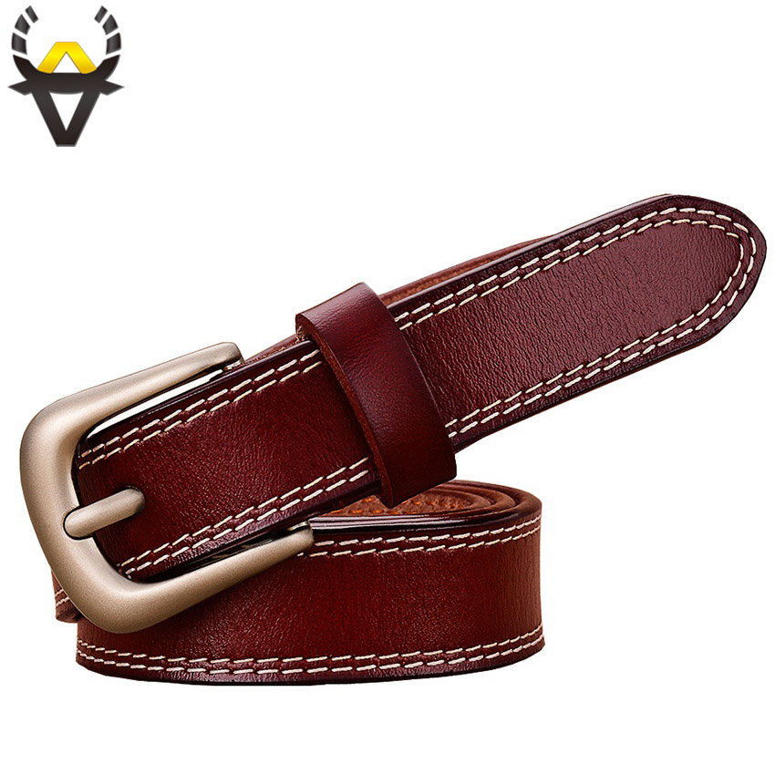 Fashion Genuine Leather Belts For Women Stitching Up Belt Woman Quality Cow Skin Pin Buckle Waist Strap Female Width 2.3 Cm