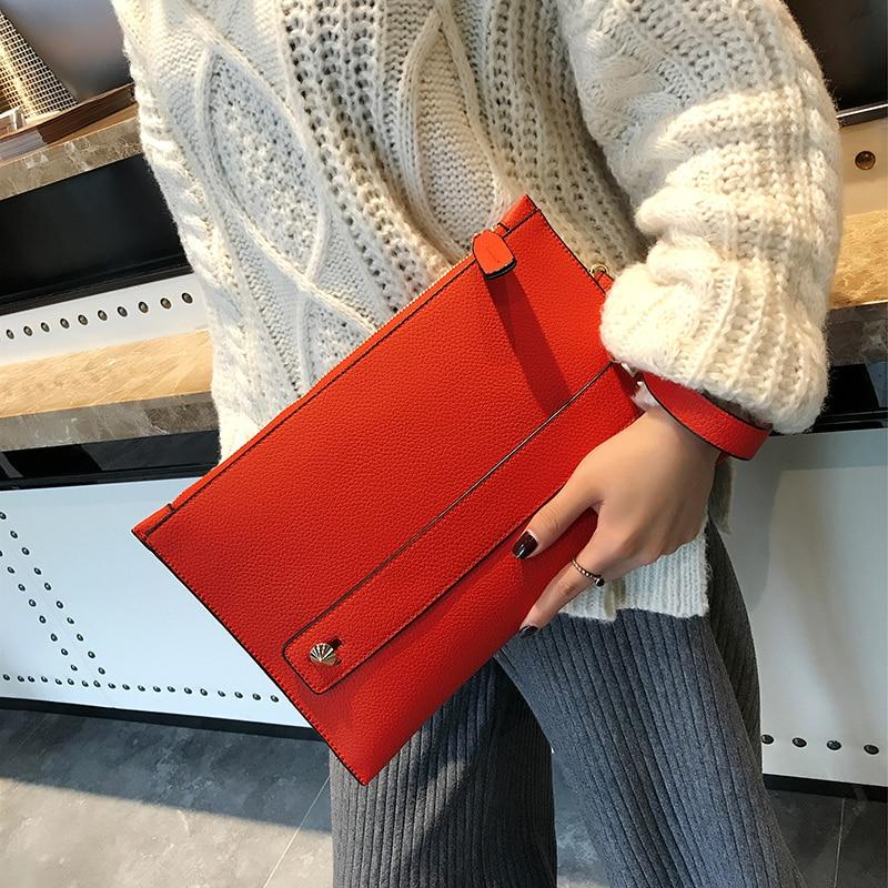 New Fashion Women Envelope Clutch Bag PU Leather Female Day Clutches Red Women Handbag Wrist Clutch Purse Evening Bags Bolsas