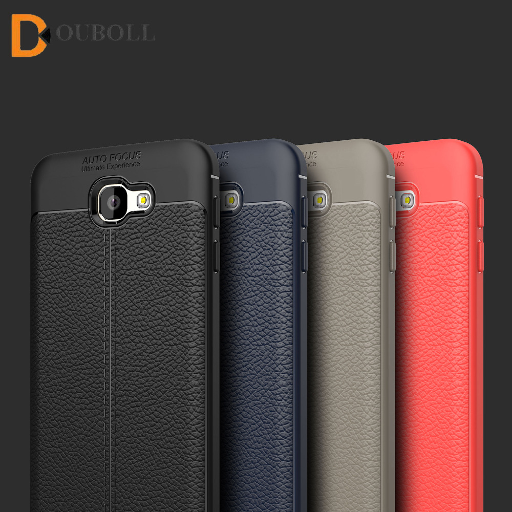 Douboll For Samsung Galaxy J5 J7 Prime 2016 Luxury Litchi Leather Pattern Soft TPU Plain Shockproof Case Cover