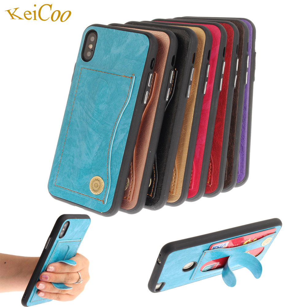 Bracket Covers On For iPhone7Plus 32GB 64GB 128GB 256GB PU Leather Cases For Apple iPhone 7 Plus Cases Covers Slot Full Housing