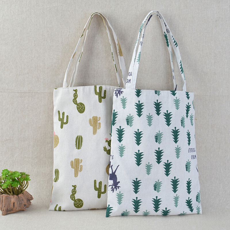 1x Pine Cactus Linen Bag Tote ECO Shopping Outdoor Canvas Shoulder Bags