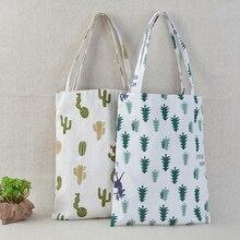 1x bolso de lino de cactus de pino bolso ecológico de compras bolsas de hombro de lona al aire libre