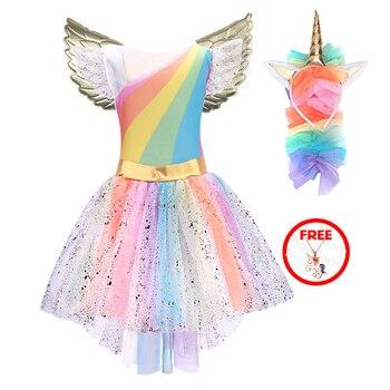 3ed7703c0c4 Filles licorne Costume princesse robe nouveau 2019 filles bal Cosplay Tutu  robe avec bandeau robes d été pour enfants filles